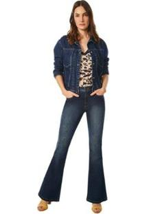 Jaqueta Maria.Valentina Classica Com Pregas Jeans Feminina - Feminino-Azul