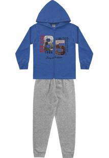 Conjunto Jaqueta Azul E Calça