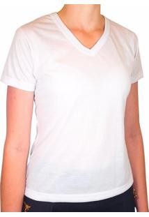 Camiseta Branca 100% Poliéster Para Sublimação Gola V Feminina P