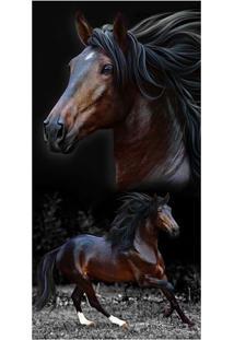 Toalha De Praia Resort Brow Horses- Marrom & Preta- Buettner