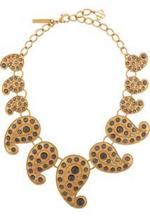 Oscar De La Renta Embellished Paisley Necklace - Dourado