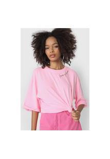 Camiseta Lança Perfume Lettering Rosa