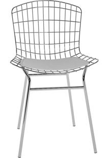 Cadeira Trama Branca E Cromado