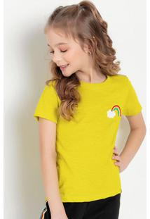 Blusa Infantil Amarelo Neon Com Aplicação