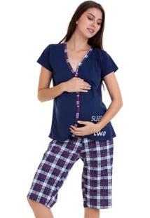 69d24457931df4 Pijama Amamentação Capri Luna Cuore Feminino - Feminino-Marinho
