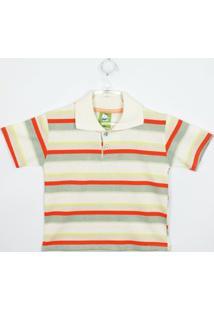 Camiseta Bebê Masculina Manga Curta Creme, Cinza E Laranja - Masculino-Listrado