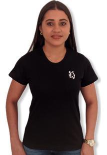 Camiseta Lobo Basic Feminina Preta Multicolorido - Kanui