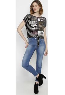 Camiseta Listrada Com Termocolantes- Preta & Roxa- Ttriton