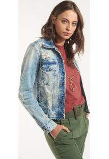 Jaqueta Rosa Chá Rasgos Jeans Azul Feminina (Jeans Claro, M)