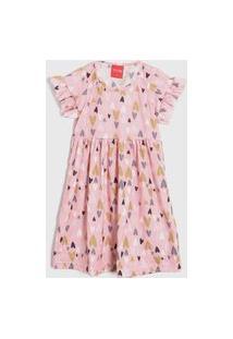 Vestido Tricae Infantil Coraçáo Rosa