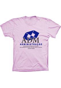 Camiseta Baby Look Lu Geek Administração Rosa