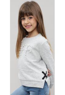 Blusão Infantil Em Moletom Com Bordado Cinza Mescla