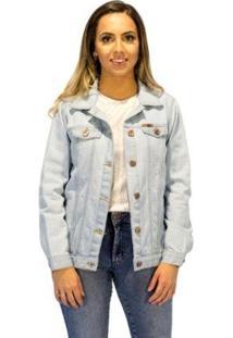 Jaqueta Jeans Aee Surf Reta White Feminina - Feminino-Azul Claro
