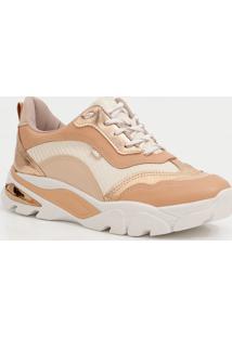 Tênis Feminino Chunky Sneaker Recorte Metalizado Dakota