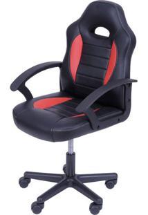 Cadeira Office Racer V11 Preto E Vermelho Com Base Nylon - 50036 - Sun House