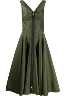 Marni Vestido Midi Listrado Evasê - Verde