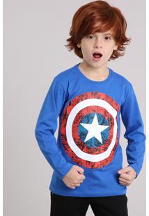 Camiseta Infantil Capitão América Manga Longa Gola Careca Azul f9632a678820a
