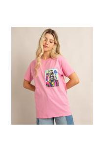 Camiseta De Algodão Sex Education Manga Curta Decote Redondo Rosa