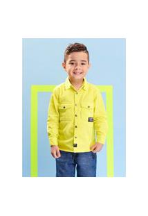 Camisa De Sarja Infantil Menino Verde Limão Youccie
