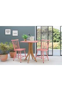 Mesa Com 2 Cadeiras Quadrada Juliette - Jatobá E Rosa Coral