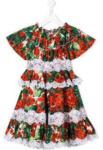Dolce & Gabbana Kids Vestido Portofino Com Babados - Verde