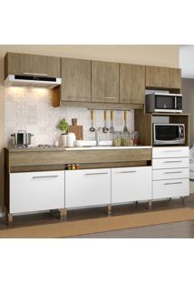Cozinha Compacta 8 Portas 4 Gavetas Co780 Wood/Branco - Decibal Móveis