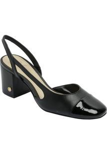 55e4e8e654 Sapato Tradicional Em Couro Com Recortes- Preto- Saldumond