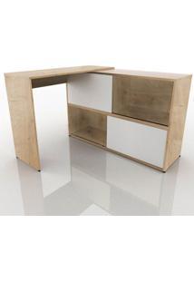 Mesa Para Computador Fit Mobel Escrivaninha 2 Portas Olimpo Natura E Branco