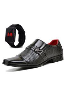 Sapato Social Com Relógio Led Dubuy 818Mr Preto