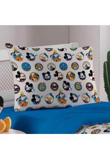 Fronha Avulsa Portallar Malha Estampada Disney Amigos Do Mickey Azul