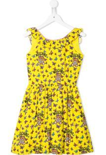 Moschino Kids Vestido Com Estampa De Borboleta - Amarelo