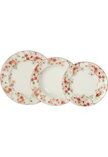 Aparelho De Jantar Porcelana 18 Peças Cherry Blossom - Unissex-Branco+Vermelho