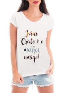 Camiseta Criativa Urbana Melhor Amigo Jesus Gospel Textos - Feminino-Branco