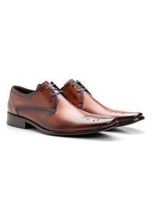 Sapato Brogue Aberdeen Masculino De Amarrar Orange Solado Em Couro 659 B