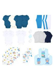 Kit Enxoval Bebê Masculino (28 Peças) - Bebê Fofuxo - Tamanho Único - Branco,Azul,Turquesa
