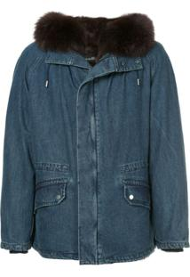 Yves Salomon Fur Hooded Denim Coat - Azul