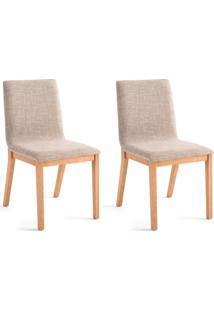 Conjunto Com 2 Cadeiras De Jantar Bogor Dourado E Carvalho
