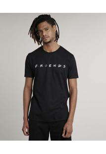 Camiseta Masculina Friends Manga Curta Gola Careca Preta