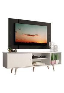 Rack Madesa Dubai Com Pés E Painel Para Tv Até 58 Polegadas Branco/Preto 0977 Preto