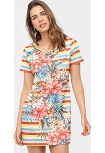 Vestido Farm Evasê Curto Listrado Flores - Feminino