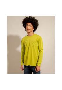 Camiseta De Algodão Básica Com Bolso Manga Longa Decote Redondo Verde Claro