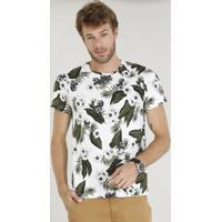 0347ef0a85 Camiseta Masculina Slim Fit Estampada De Folhagem E Caveira Manga Curta  Gola Careca Branca