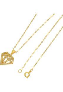 Gargantilha Diamante Tudo Jóias Folheada A Ouro 18K Dourada