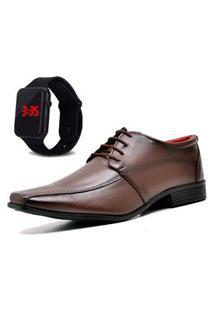 Sapato Social Com Relógio Led Dubuy 804Mr Marrom