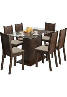 Sala De Jantar Madesa Base De Madeira Com Tampo De Vidro E 6 Cadeiras Gales - Tabaco E Pérola