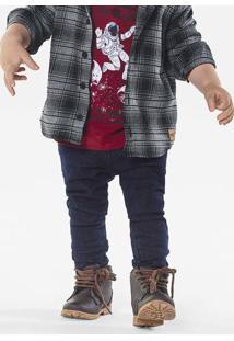 Calça Jeans Infantil Bebê Menino Com Elástico No Cós Puc