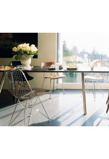 Cadeira Eames Dkr Bikini - Inox Tecido Sintético Amarelo Dt 0102299194