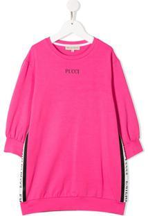 Emilio Pucci Junior Vestido Esportivo Com Acabamento De Logo - Rosa