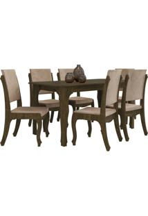 Conjunto Mesa De Jantar Onix Com 6 Cadeiras Marrom Rv Móveis
