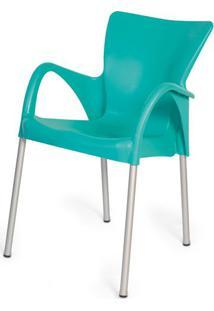 Cadeira Armenia Em Polipropileno Verde Tifanny Com Pes Aluminio - 47951 - Sun House